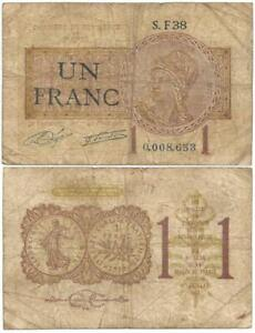 1920 CHAMBER of COMMERCE of PARIS, FRANCE Un Franc NOTGELD Note POST-WORLD WAR I