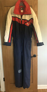 Men's Vtg Tyrolia One Piece Retro Snowsuit Blue Red Logo Colorblock Celtech L