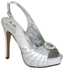 Size 5.5 NEW Ladies Susie Silver Heel Pageant Bridal Evening Platform Shoe #4025