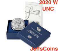 2020 W Unc AMERICAN EAGLE SILVER DOLLAR Uncirculated West Point US MINT 999 20EG