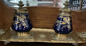 Doulton Victorian Brass Double Inkstand with Cobalt and Enameled Gilt Porcelain