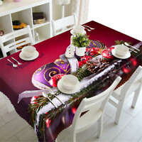 Purple Christmas 3D Tablecloth Table cover Cloth Rectangle Wedding Party Banquet