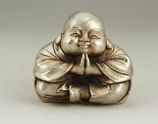 EXQUISITE CHINESE WHITE COPPER HANDWORK CARVING MONK BUDDHA STATUE
