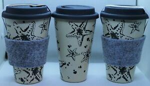 Set of 3 Eco Friendly Bamboo Fibre Reusable Travel Cup Coffee Tea + Amenity Kit
