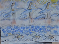 "Oil on canvas IVAN RANE ""Sea Women Dance"" with Minoan water and fish elements"