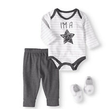 BON BEBE Newborn Baby Boy Bodysuit, Pants & Sneakers 3 Piece Outfit Set 6-9m
