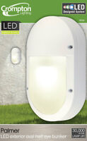 LED Exterior Half Eye Bunker Light White Wall Mount 3W Warm White Energy Saving
