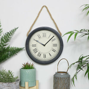 Round Black Clock with Rope industrial retro vintage rustic home decor