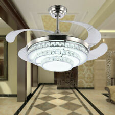 """42"""" Crystal Ceiling Fan Light Dimmable LED Chandelier Pendant 3 Color w/Remote"""