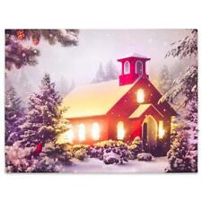 Wandbild mit LED Kunstdruck mit Beleuchtung rotes Haus 30x40 cm Timer Leuchtbild