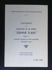 Ancienne plaquette lancement Chalutier Jeanne d'arc 1960 menu