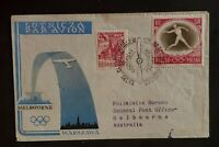 1956 Warsaw Poland to Melbourne Australia Olympics Stamp First Flight Cover