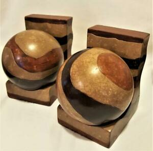 Set of Faux Stone Book Ends wth ball Tan and brown