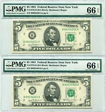 1981 $5 Federal Reserve Note New York Consecutive Pair - Fr.1976-B - PMG 66 EPQ