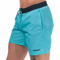 Diesel Mens BMBX 2.017 Polyester Drawstring Swim Shorts in Blue