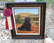 HUNGARIAN PULI DOG LORD OF THE REALM ORIGINAL OIL PAINTING BY THERESA MOORE 1974