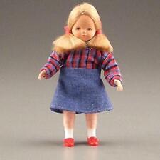 Dollhouse Dressed Little Girl Caco DHS0751 Flexible blu denim w plaid