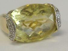 VINTAGE 14 K   LARGE NATURAL PERIDOT/ OLIVINE AND DIAMONDS RING SIZE 6,5-6.75