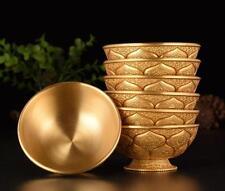 7pcs Copper Lotus Worship Bowl Cup Carving Ashtamangala Buddhism Lucky Artifact