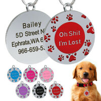 Personalized Dog ID Tags Paw Print Engraved Dog Name Customized for Free