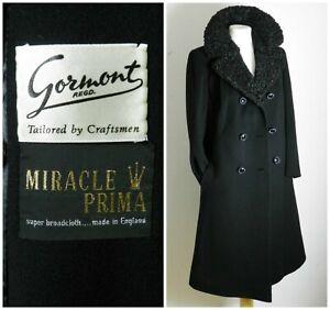 50,S Coat  Black Wool  Lambs Curly Fur Collar Miracle Prima VGC Pockets UK 18