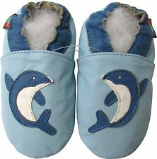 shoeszoo dolphin light blue 12-18m S soft sole leather baby shoes