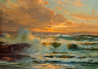 Art Oil painting beautiful seascape ocean waves with rocks in sunset handpainted