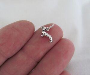 Small Sterling Silver Dachshund mini tiny charm.