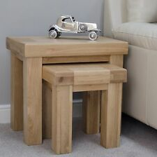 Phoenix solid oak furniture nest of two coffee tables set