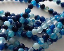 perle agate ronde 20x bleu blanc naturel 4mm