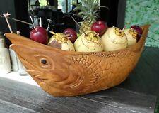 Panier de fruits 70cm avec poisson Motif bol plat en bois