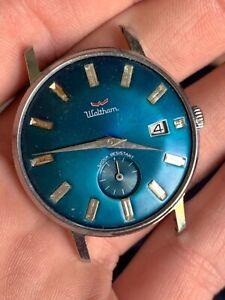 Vintage Waltham Blue Dial Rhinestone Mechanical Wrist Watch Parts or Repair! NR