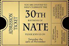 Invitation 30TH 40TH 50TH 60TH TICKET Male invite Birthday Party Invite ANY AGE