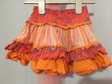 Lovely Baby Girls M&S Orange Floral Striped Design Skirt 12-18m🎀