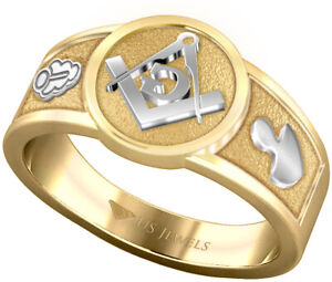 Men's Two Tone 14k, 10k Yellow and White Gold Blue Lodge Freemason Masonic Ring