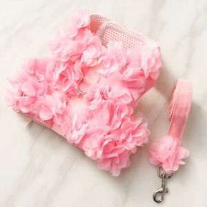 Pet Small Girl Dog Puppy Harness Leash Sets Pink Flower Purple Skirt Puppy Vest
