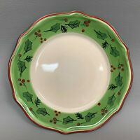 Dining Style Dinner Plate Green Band Holly Berries 11""