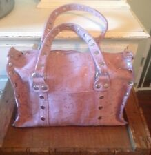 536928e11b0f56 Hammitt Leather Handbag Pink Shimmer Reptile Design W/ Silver Accents