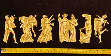 6 DECORATIVE MOULDING ANTIQUE STATUE GOLD GILT OR WHITE RESIN WALL DECORATION