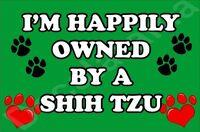 I'M HAPPILY OWNED BY A SHIH TZU JUMBO FRIDGE MAGNET GIFT/PRESENT DOG