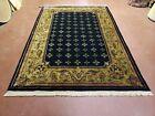 6x9 Aubusson Design Nepal Rug Tibetan Carpet Black & Tan Hand-Knotted Soft Rug