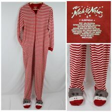 Nick & Nora Sock Monkey Footed Pajamas Striped Red Size Small