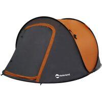 Hinterland 2 Person Easy Pop Up Tent Orange Fibreglass Pole 208x145cm Camping
