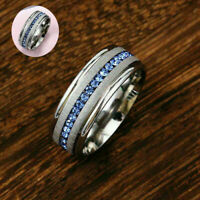8MM Blue AAA Cz Band Men's Titanium Steel Silver Engagement Ring Sz8-15 Brushed