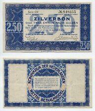 2,50 Gulden Niederlande 1.10.1938  Zilverbon, Erhaltung II-/III+  P.62