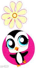 "4"" LITTLEST PET SHOP PENGUIN  FLOWER CHARACTER  FABRIC APPLIQUE  IRON ON"
