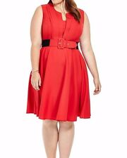 City Chic Vintage Veronica Crepe A Line Dress In Red Size XS - Belt Not Included