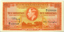Bermuda 1937 10 Shillings Red Fractional Letter Prefix P-10B Good VF++