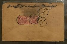 Malaya 1901 Straits Settlements PENANG cover to India Queen Victoria stamp pair