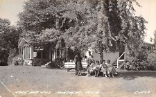 Montague MI Ladies~Shady Round Tree Bench @ Dining Hall~Jack & Jill RPPC c1937